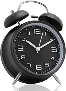 "Betus [Non-Ticking 4"" Twin Bell Alarm Clock - Metal Frame 3D Dial with Backlight Function - Desk Table Clock for Home and ..."