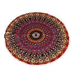 Modest Dog Bed Traditional Mandala Round Floor Cushion Pillow Case Cover Hippie With The Most Up-To-Date Equipment And Techniques Home & Garden
