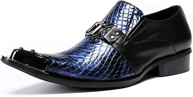 XWQYY Spitzkopfhaut Schuhe Business Kleid Eisenkopf Leder Herrenschuhe Mode Friseur Erhhen Persnlichkeit Nachtclub Retro Lederschuhe,Blau-38EU