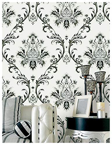 """HaokHome 1004 Damask Wallpaper Rolls Off White/Black/Silver Textured Wall Decoration 20.8"""" x 32.8ft"""