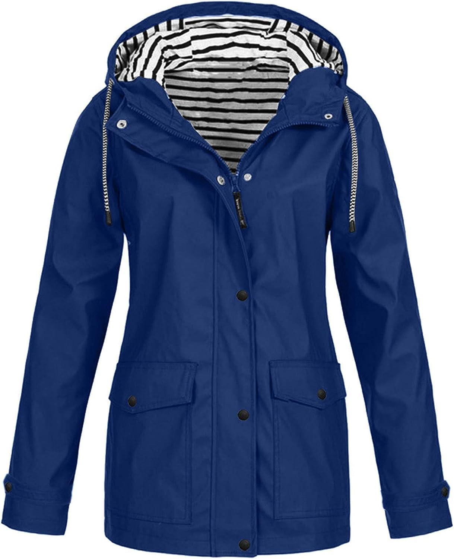 KOPLTYRFG Womens Rain Jacket Waterproof Hooded Rain Jacket Windbreaker Lightweight Rain Coats with Plus Size
