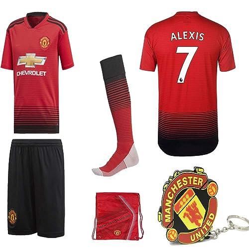 4b452758c15 Manchester United Pogba Lukaku Alexis 2018 19 Kid Replica Jersey Kit   Shirt