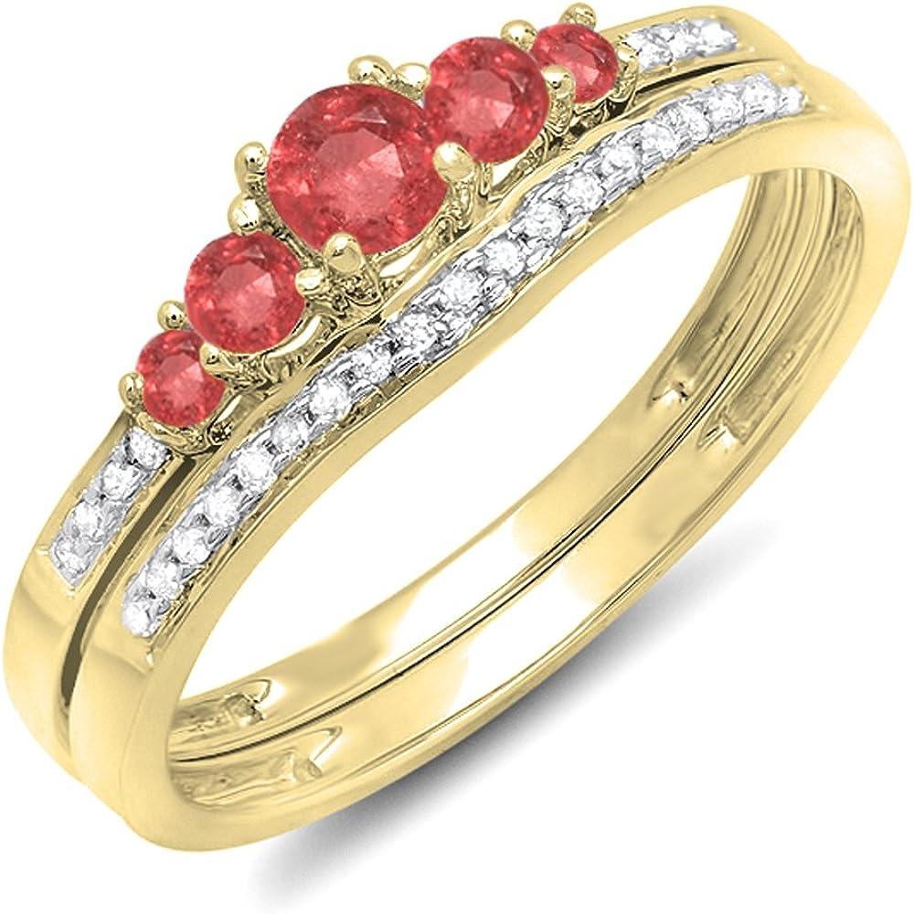 Dazzlingrock Collection 14K Gold Round Ruby and White Diamond Ladies 5 Stone Bridal Engagement Ring Matching Band Set