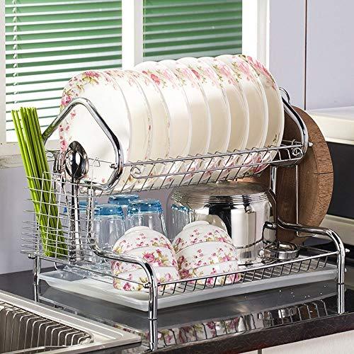 Hausförmige 3-stufige Geschirrhalter Halter Edelstahl Abtropffläche Trocknen für Geschirr Küchenorganisator Ständer für Geschirr