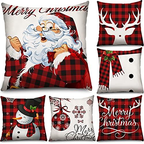 6 Pieces Christmas Buffalo Plaid Throw Pillow Cover 18...