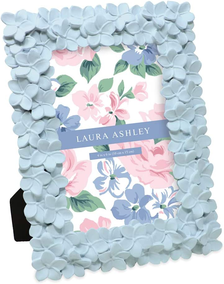 Laura Ashley 4x6 Powder Blue Flower Textured Hand-Crafted Resin Picture Frame w/Easel & Hook for Tabletop & Wall Display, Decorative Floral Design Home Décor, Photo Gallery, Art (4x6, Powder Blue)