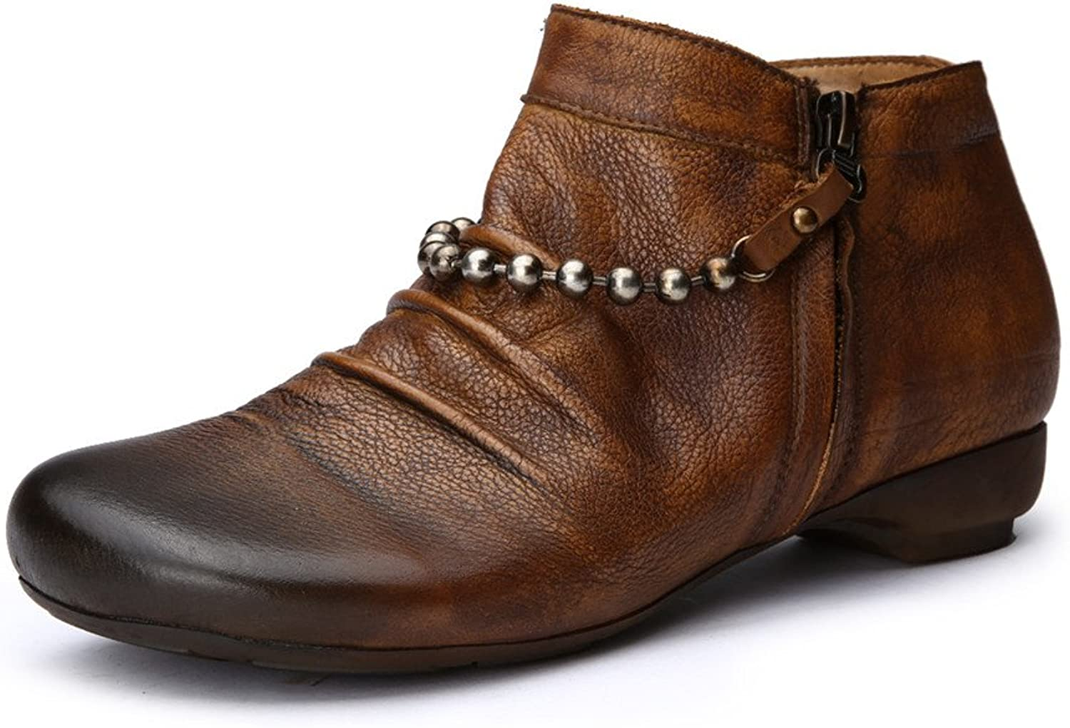 Dwarves Handmade Retro Leather Ankle Boots for Women Metal Chain Decorated Camel