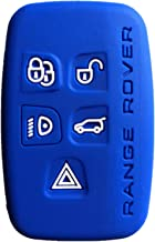 Rpkey Silicone Keyless Entry Remote Control Key Fob Cover Case protector For 5 Button Land Rover LR2 LR4 Range Rover Sport Evoq Discovery(Blue)