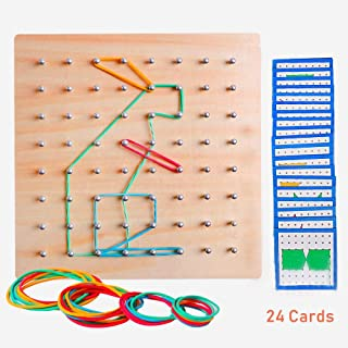 Wooden Geoboard Mathematical Geometry Manipulative Material Array Block Geo Board Graphical Educational Shape STEM Puzzle Toys with 24Pcs Pattern Cards and Rubber Bands Matrix 8x8 Brain Teaser for Kid