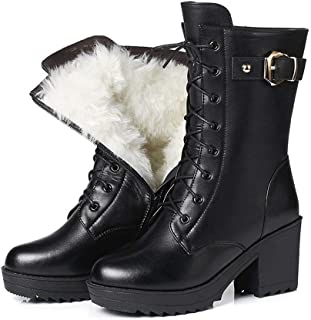 GYPING Womens Winter Middle Tube Boots Wool Lining Martin Boots Black Leather Snow Shoes Outdoor Urban Work Hiking,Black- 6.5
