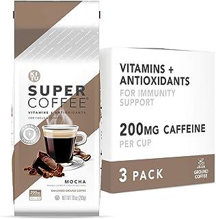Kitu Super Coffee Grounds, Energy & Immunity (2x Caffeine, Vitamins, Antioxidants, Organic) [Mocha] 10 Oz, ...