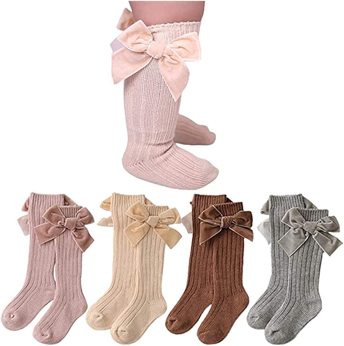 Infant Baby Girls Socks Max 89% OFF Newborn Toddlers Knee Bow High Manufacturer OFFicial shop Knit Cott