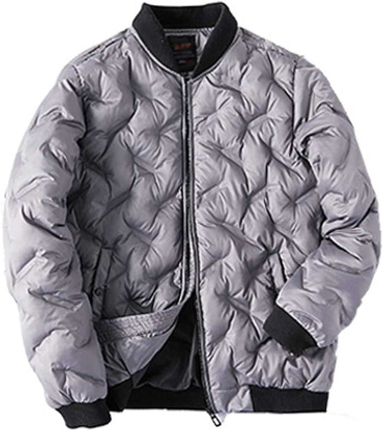 ZGZZ7 Men's Winter Warm Puffy Coats Outerwear Quilted Cotton Padded Puffer Coats Baseball Jackets