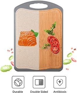 Smyidel Tabla de Cortar de bambú, Tabla de Cortar de Doble Cara, Tabla de Cortar de bambú Entera Tabla de Cortar doméstica a Prueba de Moho, Adecuada para Todo Tipo de Alimentos(Grey)