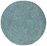 SAFAVIEH August Shag Collection AUG900J Solid Non-Shedding Living Room Bedroom Dining Room Entryway Plush 1.2-inch Thick Area Rug, 9' x 9' Round, Aqua