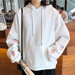 Kipeee Sudadera Sudadera con Bordado De Fresa Harajuku Otoño Invierno Mujer Kawaii Manga Larga Suelta Tops Sudaderas De Gr...