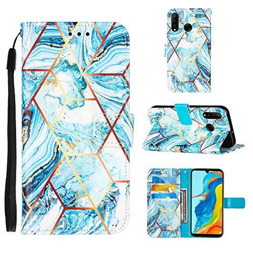 iLovecover Funda para LG Velvet 4G/5G - G9 Velvet,Mármol Raya Brillante Estuche Protector Billetera Móvil Case Cover Cuero Caso para LG Velvet 4G/5G - G9 Velvet,Azul