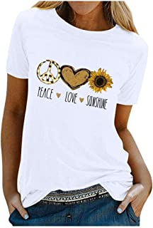 Xinantime Womens Shirts Casual O-Neck Sunflower Printing Short Sleeve Slim Tee T-Shirt Top