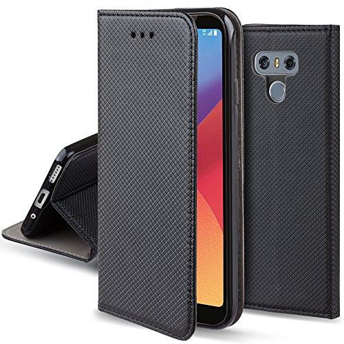 Moozy Funda para LG G6, Negra - Flip Cover Smart Magnética con Soporte y Cartera para Tarjetas