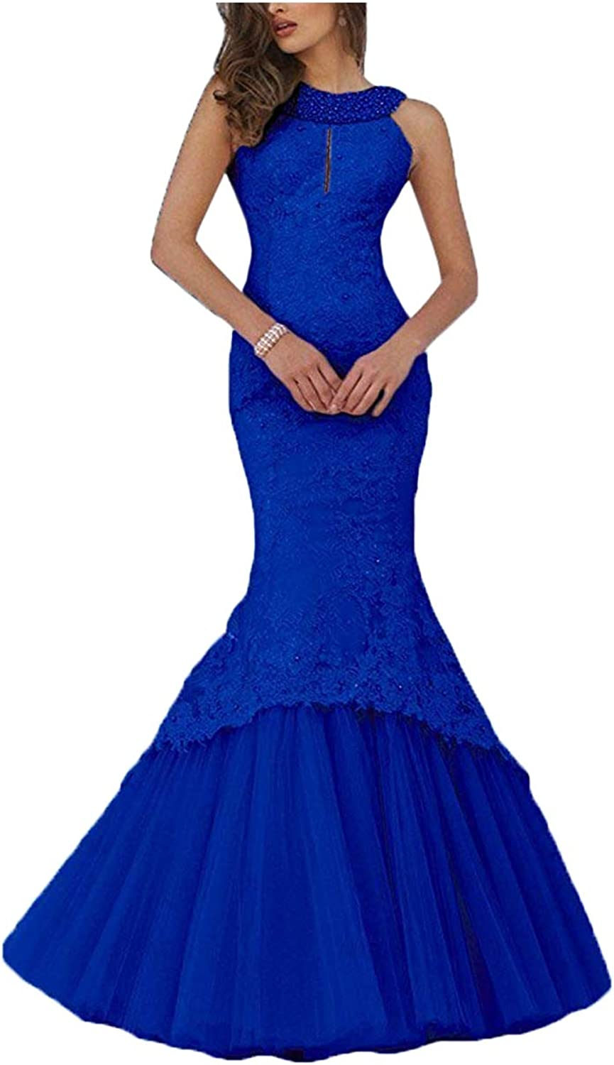 BridalAffair Elegant Women's Mermaid Prom Dress Sleeveless Party Evening Gowns with lace Appliques and Beads