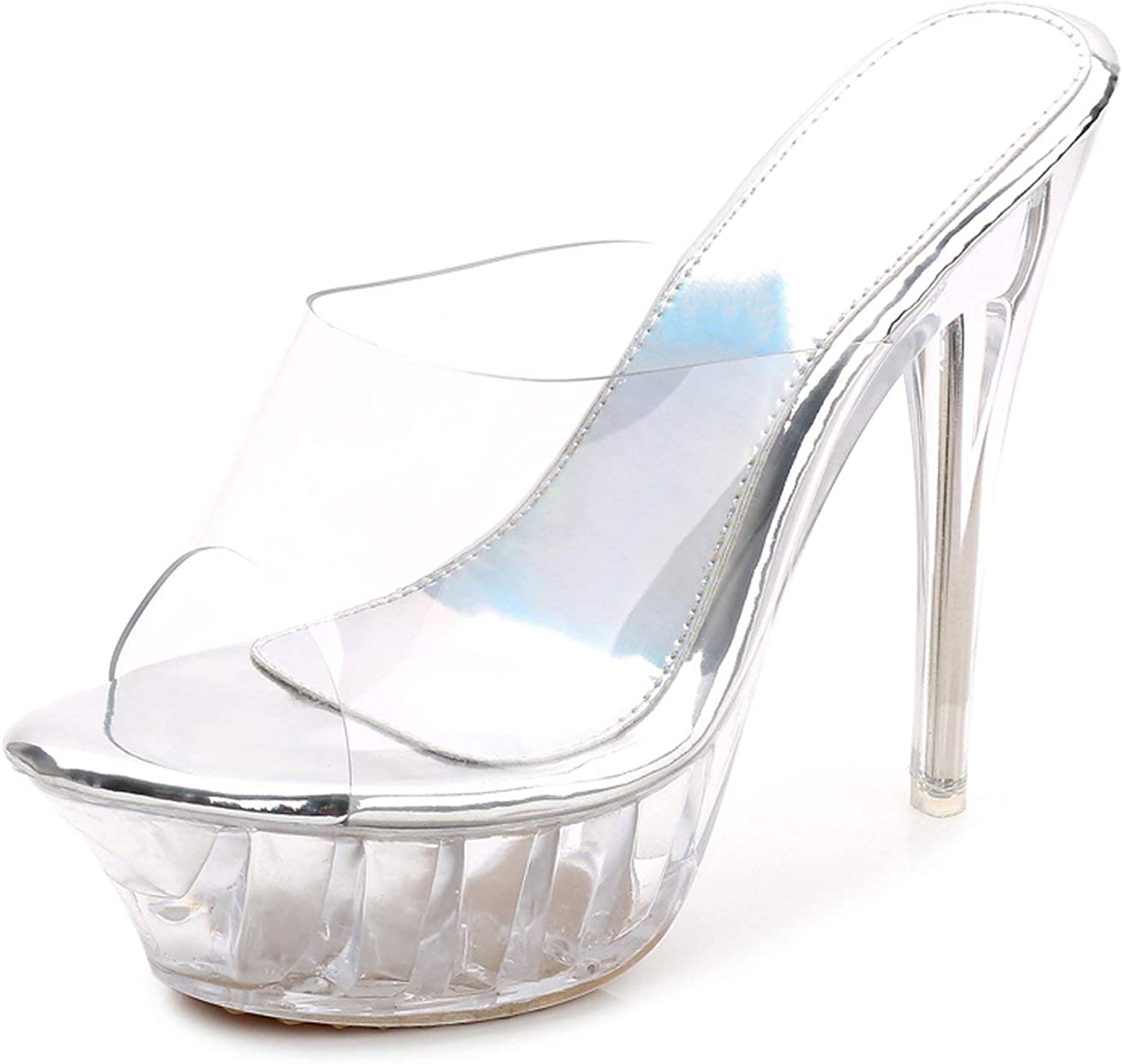 High Heels Womens Sandals Transparent Crystal Heel Model T Stage Sexy Lady Heeled shoes 35-43,1456silver,13