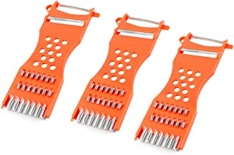 uxcell® Metal Scraper Fruit Grater Slicer Vegetable Peeler 3 Pcs Orange Red