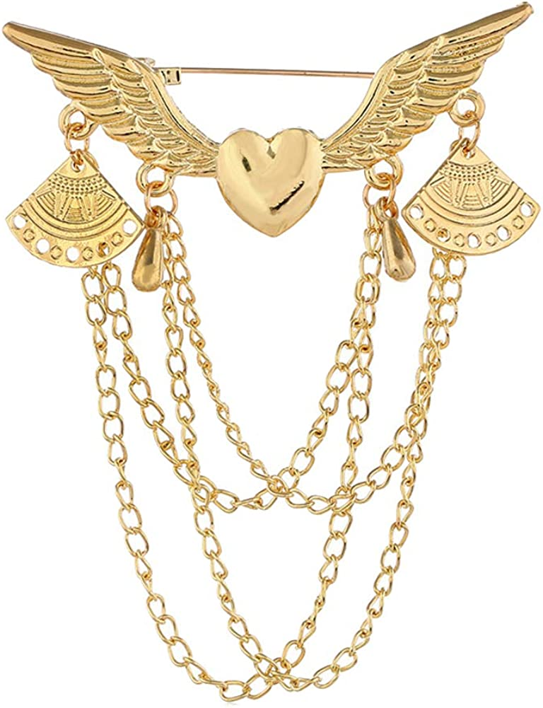 JENPECH Retro Brooch Pin for Unisex,Retro Angel Wing Heart Shirt Suit Collar Tip Lapel Brooch Pin with Chain Tassel - Golden