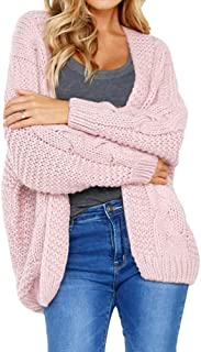 VESKRE Women's Red Long Sleeve Cardigan Work Casual Knitted Solid T-Shirt Tops Sweater Coat