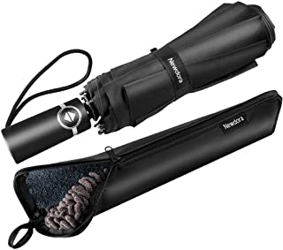 Newdora Windproof Travel Folding Golf Umbrella Auto Open Close Button and Upgraded Comfort Handle, Lightweight 10 Ribs Automatic Canopy Compact with Light Reflective-Gift Waterproof Bag