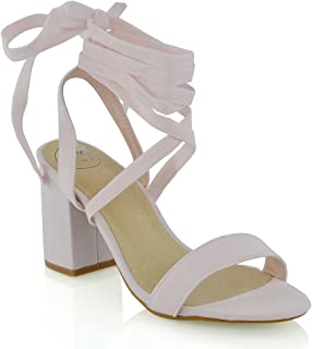 Womens Chunky Block Low Mid Heel Lace Up Strappy Sandal Faux Suede Shoes