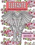 Libro de colorear en escala de grises - Patrones increíbles Mandala y relajante - Animales adorables - Elefante