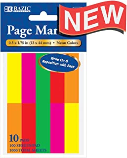 100 قلم تحديد صفحة نيون 1.7 × 1.75 بوصة، 10 عبوات (5143-24)