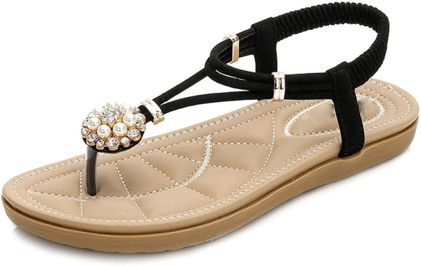 LYNLYN Sandals Fashion Leather Ladies Sandals Bohemian Beaded Slippers Ladies Flats Summer Beach Sandals Ladies Sandals (Color : Black, Size : 8)