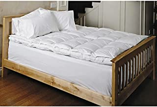 Mattress-Pad. Best Comfort, Soft, Breathable, Hypoallergenic, Natural Cotton Cover w/Goose Down Filled Topper Pillow for Deep Healthy Sleep. Protects Bed from Dirt, Dust, Stains & Wetness. (Queen)