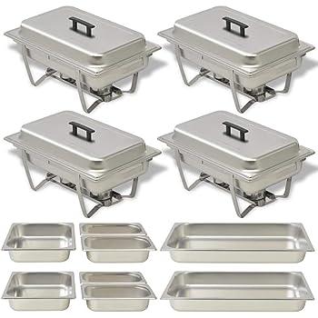 Mophorn Lot de 4 plats /à frire rectangulaires en acier inoxydable avec cadre pliable