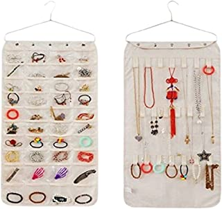Bigood Hanging Jewelry Closet Storage Organizer 40 Pockets 21 Hook-Loop Beige