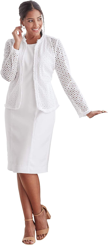 Jessica London Women's Plus Size Eyelet Jacket Dress Suit