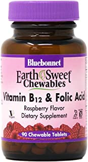 Bluebonnet Nutrition Earth Sweet Vitamin B12 & Folic Acid Chewable Tablets, Soy-Free, Gluten-Free, Kosher Certified, Dairy...