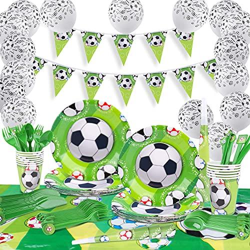 Fiesta Fútbol, INPHER Vajilla Fiesta Fútbol,120 Piezas Artículos Fiestas Cubierto para Cumpleaños Incluye Trompeta, Globos, Mantel, Cucharas,Tenedores,Cuchillos, Platos, Vasos para 18 Invitados