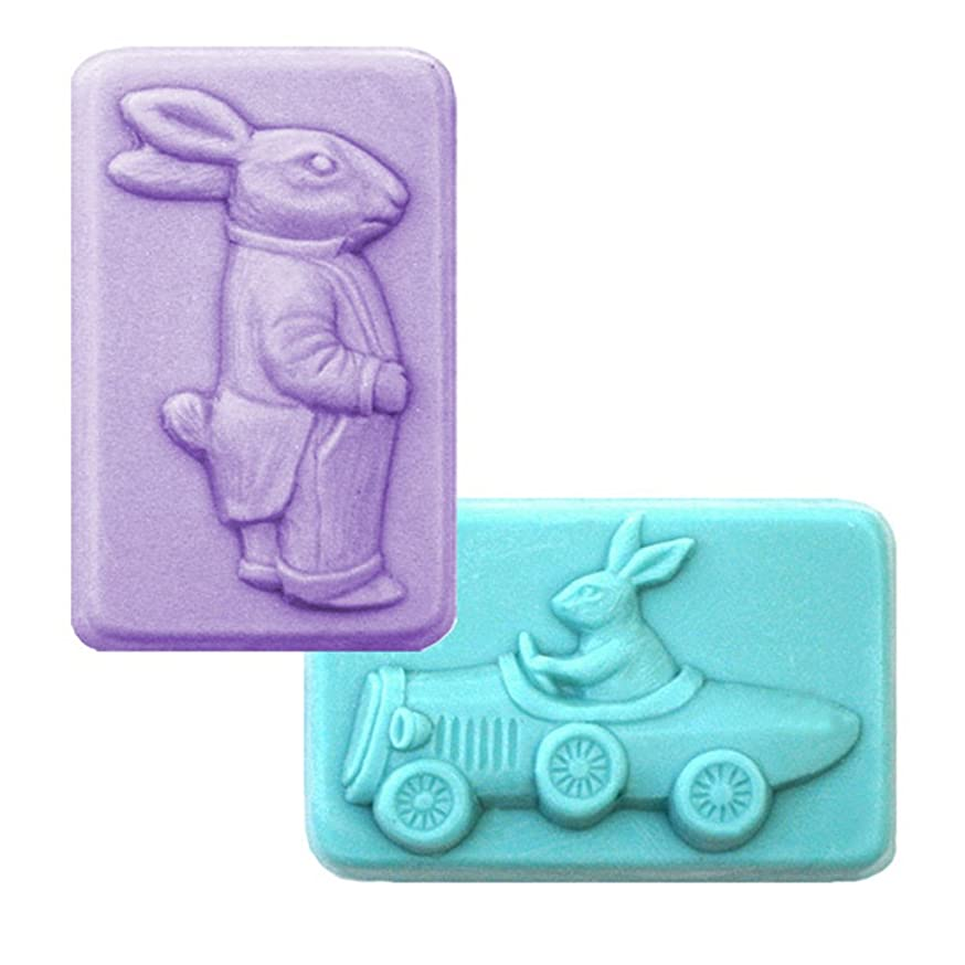 Easter Rabbits Soap Mold (MW 146) -  Milky Way. Melt & Pour, Cold Process w/ Exclusive Copyrighted Full Color Cybrtrayd Soap Molding Instructions in a Sealed Poly Bag