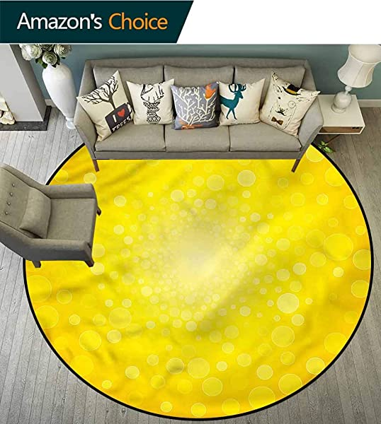 RUGSMAT Yellow Dining Room Home Bedroom Carpet Floor Mat Sunrise Polka Abstract Floor Mat Home Decor Diameter 71
