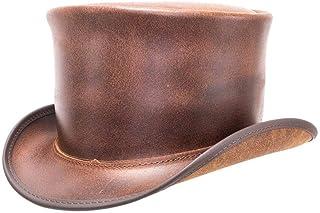 American Hat Makers El Dorado Leather Top Hat — Handcrafted, Genuine Leather — Brown