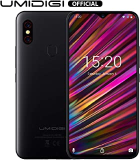 "UMIDIGI F1 Mobile Phones Unlocked Android 9.0 6.3"" FHD+ 128GB ROM 4GB RAM Helio P60 5150mAh Big Battery 18W Fast Charge Smartphone NFC 16MP+8MP Phone' (Black)"