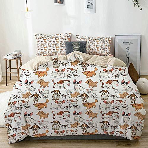 Juego de Funda nórdica Beige, Estilo de Dibujos Animados Chihuahua Terrier Bulldog y Beagle Personajes Divertidos Mascotas de Pura Raza, Juego de Cama Decorativo de 3 Piezas con 2 Fundas de Almohada