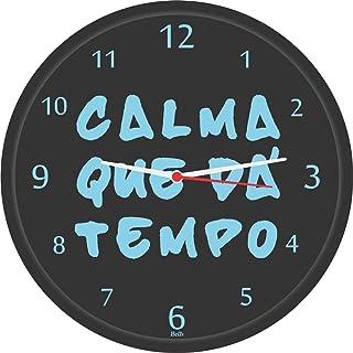 Relogio de Parede Redondo Calma Tem Tempo, Bell´s, Multicor, 28.5 cm