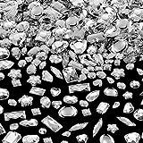 500 Piezas de Gemas de Costura Cristal Acrílico de Costura Diamante de Imitación de Formas Mixtas de Costura con 2 Agujeros para Costura Ropa Adornos de Abalorios (Cristal)