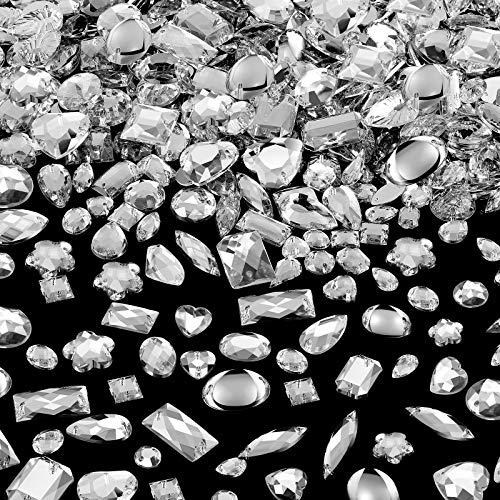 500 Pezzi Gemme da Cucire in Acrilico Cristallo per Cucire Forme Miste Cucire Sugli Strass con 2 Holes per Vestiti per Cucire Decorazioni Perline (Crystal)