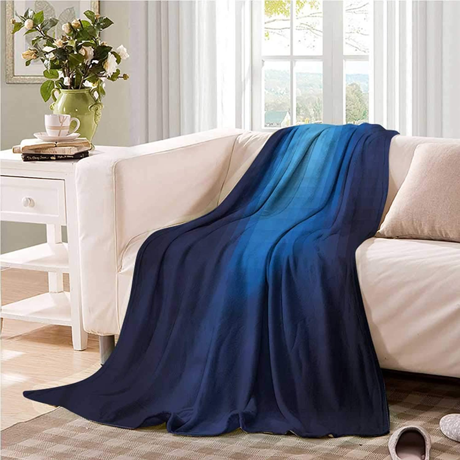 Oncegod Super Soft Blanket Navy bluerry Mosaic Pixel Square Camping Throw,Office wrap 60  W x 51  L