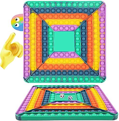 Pōp It Gigante Fidget Toy, Juego de Mesa Interactivo Jūmbo el Alivio del estrés, Antiestres Among Us Juguete Tablero de Ajedrez con Burbujas de Empuje de Cuatro Jugadores con 2 Dados