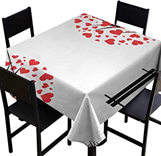SKDSArts Square Tablecloth Plaid Tree of Life,Trees with Hearth Shaped Leaves and Bench Love Valentines Romance Design,Black Red White,W36 x L36 Printed Tablecloth